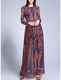 Χαμηλού Κόστους Καφτάνι-Γυναικεία Μπόχο Καφτάνι Φόρεμα - Γεωμετρικό Μακρύ Ψηλοκάβαλο / Καλοκαίρι / Φθινόπωρο