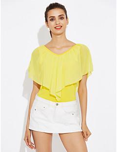 Χαμηλού Κόστους Chiffon tops-Γυναικεία Μεγάλα Μεγέθη Μπλούζα Μονόχρωμο / Καλοκαίρι / Με Βολάν