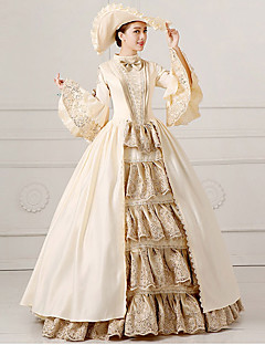 Rococo Princess Costume Women's Party Costume Masquerade Beige Vintage Cosplay Lace Satin Long Sleeves Bell Floor Length