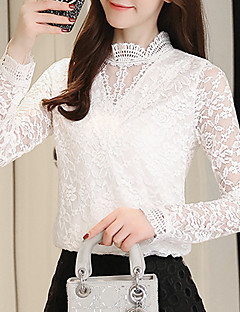 Women's Daily Going out Casual Winter Fall Blouse,Solid Stand Long Sleeves Polyester Medium