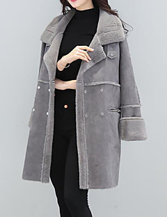 Women's Plus Size Going out Casual/Daily Cute Street chic Punk & Gothic Winter Fur Coat,Solid Peter Pan Collar Long Sleeve Long Others