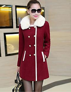 Feminino Casaco Para Noite Moda de Rua Inverno,Sólido Estampa Colorida Padrão Cashmere Poliéster Colarinho de Camisa Manga Longa