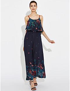 Χαμηλού Κόστους Μακριά φορέματα-Γυναικεία Εξόδου Φαρδιά Φόρεμα Στάμπα Μακρύ Ψηλοκάβαλο Τιράντες
