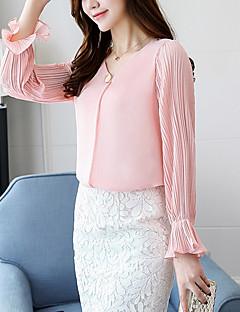 Polyester Medium Langermet,V-hals Skjorte Ensfarget Vår Høst Enkel Aktiv Fritid/hverdag Dame