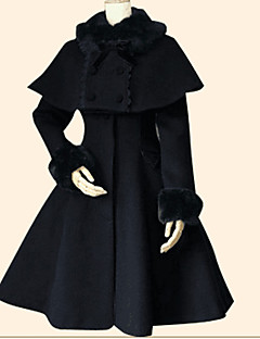 cheap Lolita Dresses-Winter Sweet Lolita Cape Coat Princess Women's Girls' Coat Cloak Cosplay Black Cyan Long Sleeves