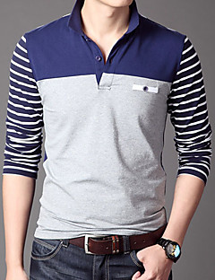 Men's Daily Work Casual Winter Fall Polo,Solid Shirt Collar Long Sleeves Cotton Acrylic Thick