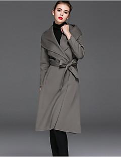 Χαμηλού Κόστους Women's Wool Coats-Γυναικεία Παλτό Κομψό στυλ street-Μονόχρωμο