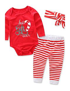 billige Tøjsæt til piger-Pige Tøjsæt Stribet Stribe, Bomuld Vinter Forår Langærmet Blomster Stribet Rød