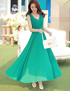 Women's Going out Sheath Dress,Solid V Neck Maxi Sleeveless Others Summer High Rise Micro-elastic Thin