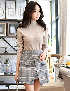 DABUWAWA Women's Daily Going out Vintage Cute Casual Regular Pullover,Solid Shirt Collar Long Sleeves Polyester Nylon Spring Fall Medium Stretchy
