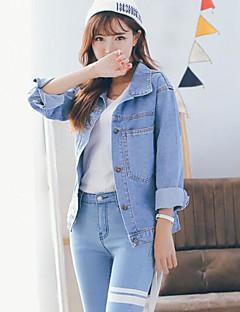 Damen Solide Street Schick Lässig/Alltäglich Jeansjacke,Hemdkragen Frühling Herbst Lange Ärmel Standard Baumwolle