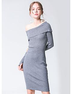 Χαμηλού Κόστους PLAYACH-Γυναικεία Χαριτωμένο Θήκη Φόρεμα - Μονόχρωμο Πάνω από το Γόνατο