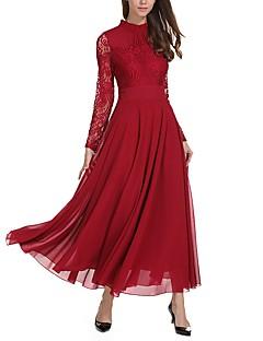 Kadın Günlük/Sade Seksi Sade Salaş Çan Elbise Solid,Uzun Kollu Dik Yaka Maksi Polyester Bahar Kış Normal Bel Esnemez Orta