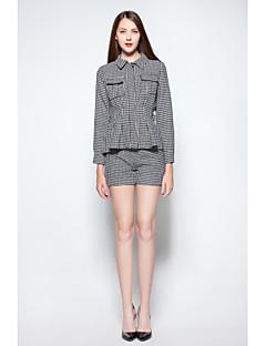 お買い得  レディースツーピースセット-女性用 ヴィンテージ シャツ 千鳥格子 パンツ シャツカラー