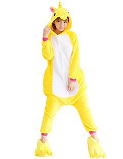 billige Kigurumi-Kigurumi-pysjamas med tøfler Pegasus Enhjørning Onesie-pysjamas Kostume Flannelstoff Gul Cosplay Til Pysjamas med dyremotiv Tegnefilm