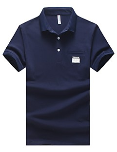 Men's Plus Size Casual/Daily Simple Summer Fall Polo,Floral Shirt Collar Short Sleeves Cotton Spandex Medium
