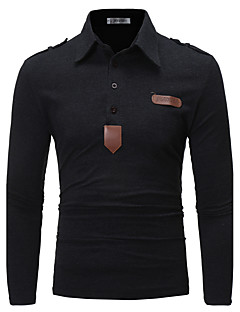Men's Daily Going out Casual Chinoiserie Spring Fall Polo,Solid Shirt Collar Long Sleeves Cotton