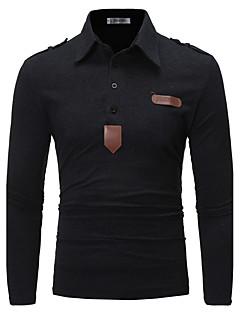 Bomull Langermet,Skjortekrage Polo Ensfarget Vår Høst Enkel Chinoiserie Ut på byen Fritid/hverdag Herre