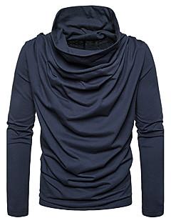 Herren Standard Pullover-Ausgehen Lässig/Alltäglich Einfach Solide Kapuze Langarm Baumwolle Herbst Winter Mittel Dehnbar