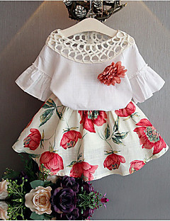 Girls' Floral Sets,Cotton Bamboo Fiber Summer Half Sleeves Clothing Set Floral White