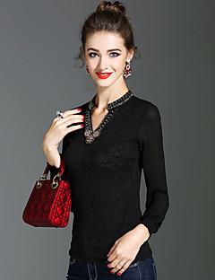 preiswerte -Damen Solide Street Schick Anspruchsvoll Ausgehen Lässig/Alltäglich T-shirt,V-Ausschnitt Frühling Herbst Langarm Polyester Mittel