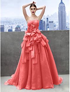 billiga Balklänningar-Prinsessa Hjärtformad urringning Kapellsläp Organza Formell kväll / Smokinggala Klänning med Lager av TS Couture®