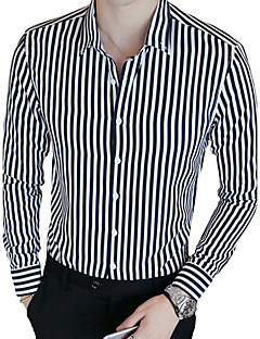 Men's Casual/Daily Work Simple Spring Fall Shirt,Striped Shirt Collar Long Sleeves Cotton Polyester Medium