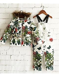 billige Tøjsæt til piger-Pige Tøjsæt Blomstret, Bomuld Vinter Langærmet Blomster Blå Hvid Gul Rosa