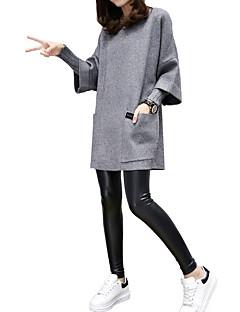 baratos Suéteres de Mulher-Mulheres Manga Longa Longo Pulôver - Sólido / Primavera
