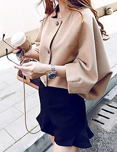 Damen Solide Einfach Lässig/Alltäglich Mantel,Ständer Winter Lange Ärmel Lang Polyester