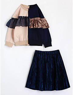 Mädchen Sets Einfarbig Baumwolle Herbst Lange Ärmel Kleidungs Set