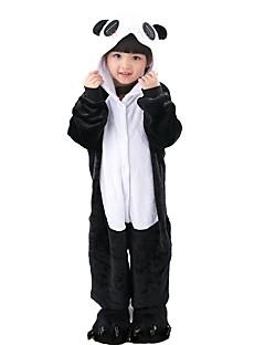 billige Kigurumi-Barne Kigurumi-pysjamas Panda Onesie-pysjamas Flannelstoff Svart / Hvit Cosplay Til Gutter og jenter Pysjamas med dyremotiv Tegnefilm Festival / høytid kostymer