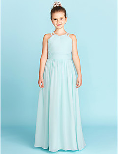 cheap Junior Bridesmaid Dresses-A-Line Princess Jewel Neck Floor Length Chiffon Junior Bridesmaid Dress with Side-Draped Ruched by LAN TING BRIDE®