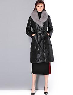 billige Damemode og tøj-V-hals Dame Ensfarvet Vintage Sofistikerede Pelsfrakke