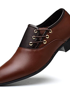 cheap -Men's Shoes Leatherette Winter Fall Formal Shoes Oxfords Split Joint for Office & Career Party & Evening Black Yellow Brown