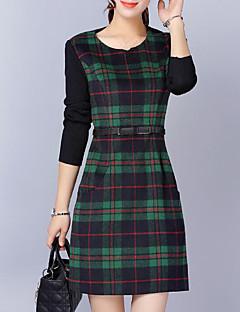 お買い得  レディースドレス-女性用 プラスサイズ シース ドレス チェック 膝上