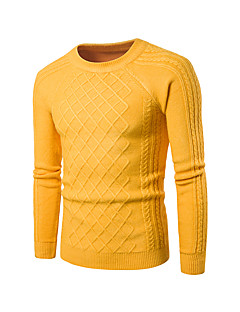 Men's Casual/Daily Simple Regular Pullover,Solid Round Neck Long Sleeves Spandex Spring Fall Medium Micro-elastic