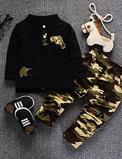 tanie Odzież dla chłopców-Komplet odzieży Bawełna Dla chłopców Jesień Długi rękaw Black Czerwony Army Green