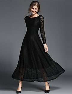SUOQI Women's Party Daily Casual Lace Swing Dress,Solid Round Neck Maxi Long Sleeves Polyester Fall High Rise Micro-elastic Medium