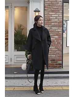 Damen Solide Street Schick Ausgehen Arbeit Mantel,Gekerbtes Revers Herbst Winter Langärmelige Lang Wolle
