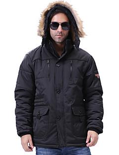 コート レギュラー パッド入り メンズ,プラスサイズ ソリッド ポリエステル コットン-シンプル 長袖