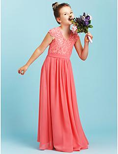 A-Linie Princess Do V Na zem Šifón Krajka Šaty pro malou družičku s Šerpa / Stuha Sklady podle LAN TING BRIDE®
