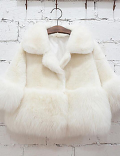 Girls' Solid Jacket & Coat,Faux Fur Special Fur Types Winter Long Sleeve White