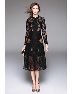 Damen A-Linie Kleid-Lässig/Alltäglich Arbeit Street Schick Chinoiserie Anspruchsvoll Solide Rundhalsausschnitt Maxi Langarm Polyester