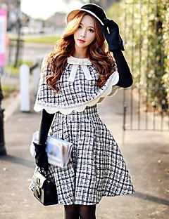 cheap Women's Skirts-Women's Work Going out Above Knee Skirts, Vintage Cute Casual A Line Wool Polyester Color Block Winter Fall