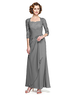 cheap -Sheath / Column Square Neck Ankle Length Chiffon Floral Lace Mother of the Bride Dress with Appliques Criss Cross by LAN TING BRIDE®