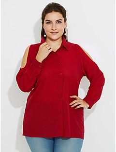 billige Skjorte-Krave Dame - Ensfarvet Udskæring Simple / Gade Arbejde Skjorte / Forår / Efterår