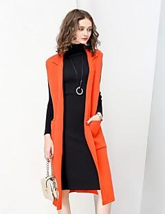 Dames Eenvoudig Street chic Herfst Winter Trenchcoat,Casual/Dagelijks Werk Effen Ingesneden revers Mouwloos Lang Wol Polyester