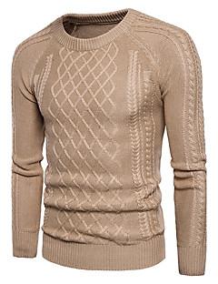 tanie Męskie swetry i swetry rozpinane-Męskie Urocza Moda miejska Okrągły dekolt Pulower Jendolity kolor Długi rękaw