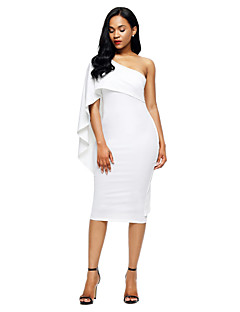cheap Women's Dresses-Women's Party Club Sexy Bodycon Midi Dress, Solid Asymmetrical Short Sleeves Summer High Rise
